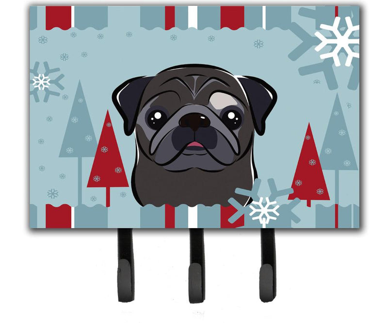 Buy this Winter Holiday Black Pug Leash or Key Holder BB1759TH68