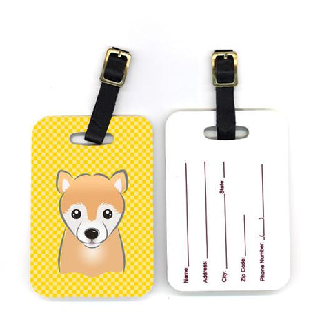 Buy this Pair of Yellow Checkered Shiba Inu Luggage Tags BB1133BT