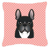 Checkerboard Pink French Bulldog Canvas Fabric Decorative Pillow BB1227PW1414 - the-store.com