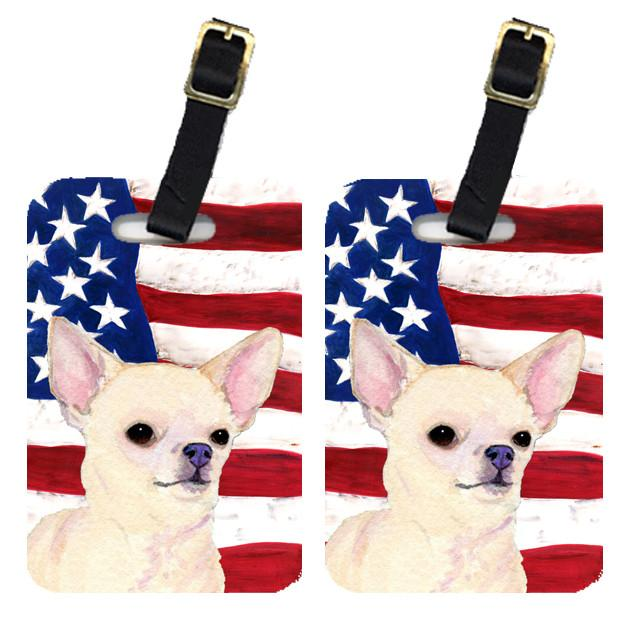 Buy this Pair of USA American Flag with Chihuahua Luggage Tags SS4228BT