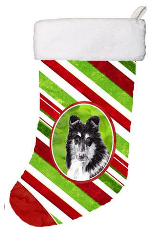 Buy this Black and White Collie Candy Cane Christmas Christmas Stocking SC9798-CS
