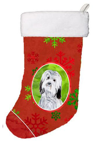 Buy this Havanese Red Snowflakes Holiday Christmas Stocking SC9761-CS