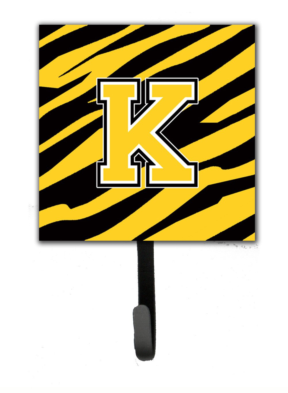 Letter K Initial Monogram - Tiger Stripe - Black Gold Leash Holder or Key Hook by Caroline's Treasures