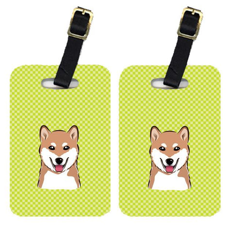 Buy this Pair of Checkerboard Lime Green Shiba Inu Luggage Tags BB1287BT