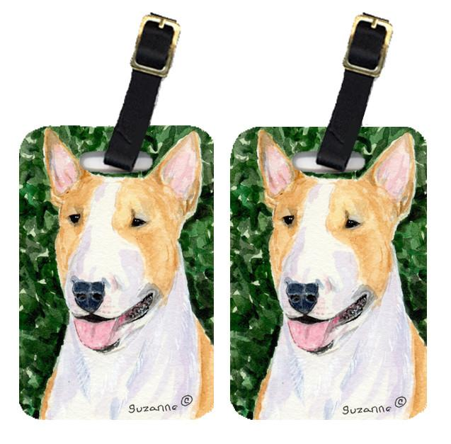 Pair of 2 Bull Terrier Luggage Tags by Caroline's Treasures