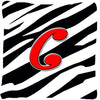 Monogram Initial C Zebra Red Decorative   Canvas Fabric Pillow CJ1024 - the-store.com