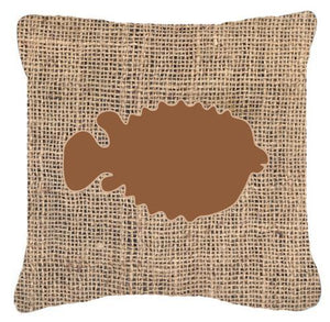 Buy this Fish - Blowfish Burlap and Brown   Canvas Fabric Decorative Pillow BB1016