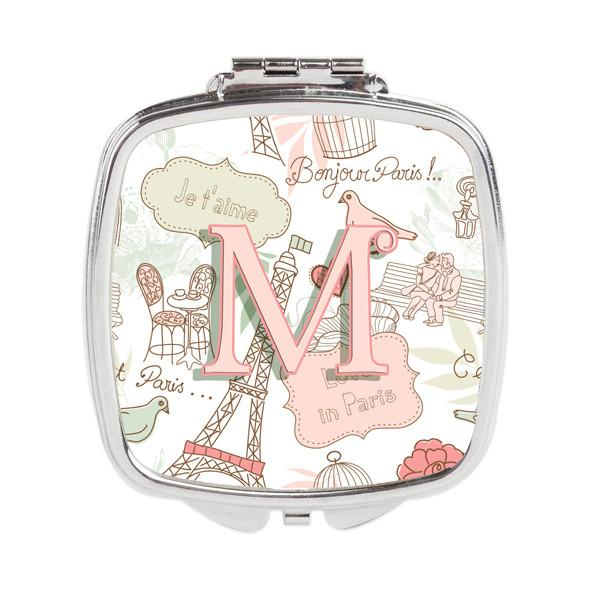 Letter M Love in Paris Pink Compact Mirror CJ2002-MSCM by Caroline's Treasures