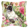 Siamese cat in the Roses Canvas Decorative Pillow CDCO0033PW1414 by Caroline's Treasures
