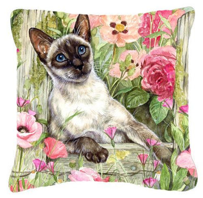 Buy this Siamese cat in the Roses Canvas Decorative Pillow CDCO0033PW1414