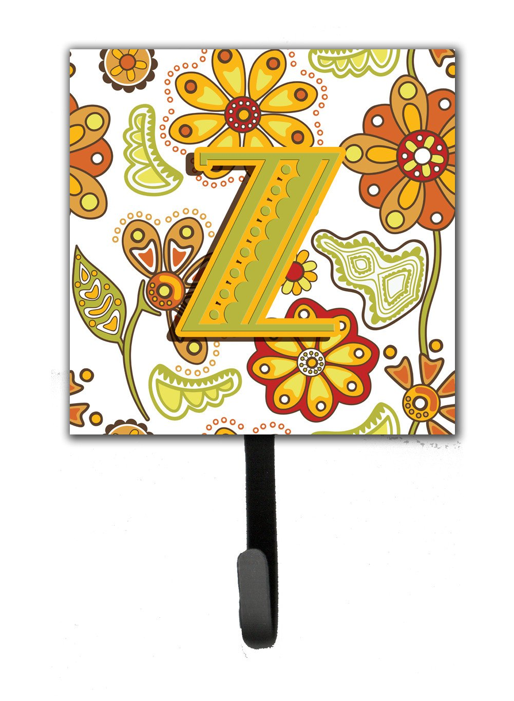 Letter Z Floral Mustard and Green Leash or Key Holder CJ2003-ZSH4 by Caroline's Treasures