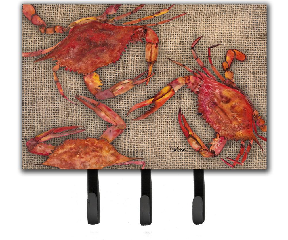 Cooked Crabs on Faux Burlap Leash or Key Holder by Caroline's Treasures