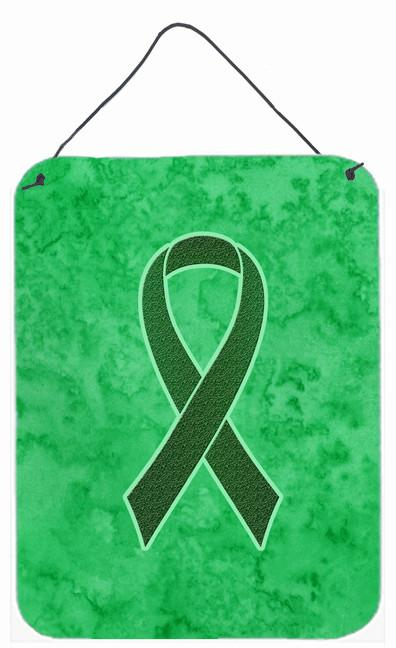 Emerald Green Ribbon for Liver Cancer Awareness Wall or Door Hanging Prints AN1221DS1216 by Caroline's Treasures