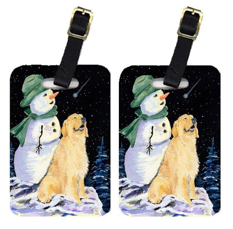 Buy this Pair of 2 Golden with Snowman in Green Hat Retriever Luggage Tags