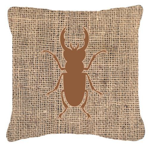 Beetle Burlap and Brown   Canvas Fabric Decorative Pillow BB1063 - the-store.com