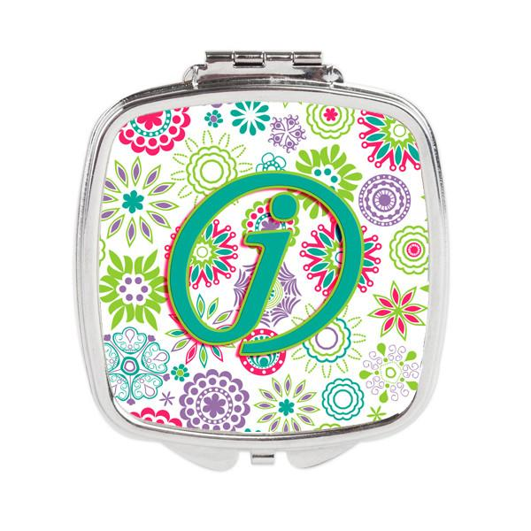 Buy this Letter J Flowers Pink Teal Green Initial Compact Mirror CJ2011-JSCM