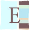 Letter E Initial Monogram - Blue Stripes Decorative   Canvas Fabric Pillow - the-store.com