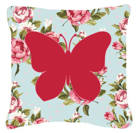 Buy this Butterfly Shabby Chic Blue Roses   Canvas Fabric Decorative Pillow BB1047