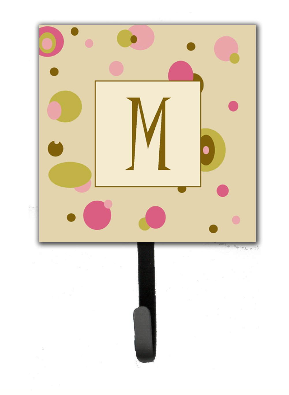 Letter M Initial Monogram - Tan Dots Leash Holder or Key Hook by Caroline's Treasures