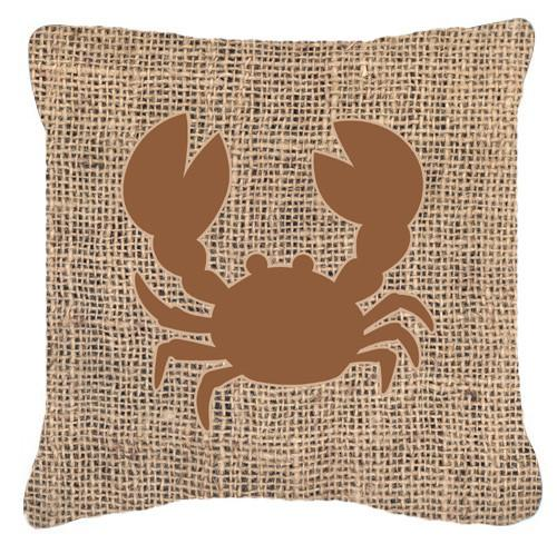 Crab Burlap and Brown   Canvas Fabric Decorative Pillow BB1104 by Caroline's Treasures