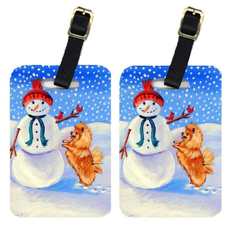 Buy this Snowman with Pomeranian Luggage Tags Pair of 2