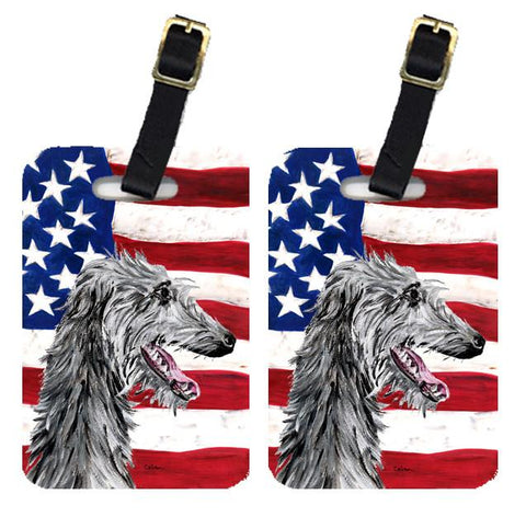 Buy this Pair of Scottish Deerhound with American Flag USA Luggage Tags SC9645BT