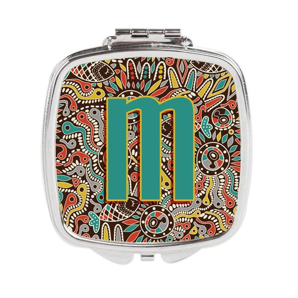 Letter M Retro Tribal Alphabet Initial Compact Mirror CJ2013-MSCM by Caroline's Treasures
