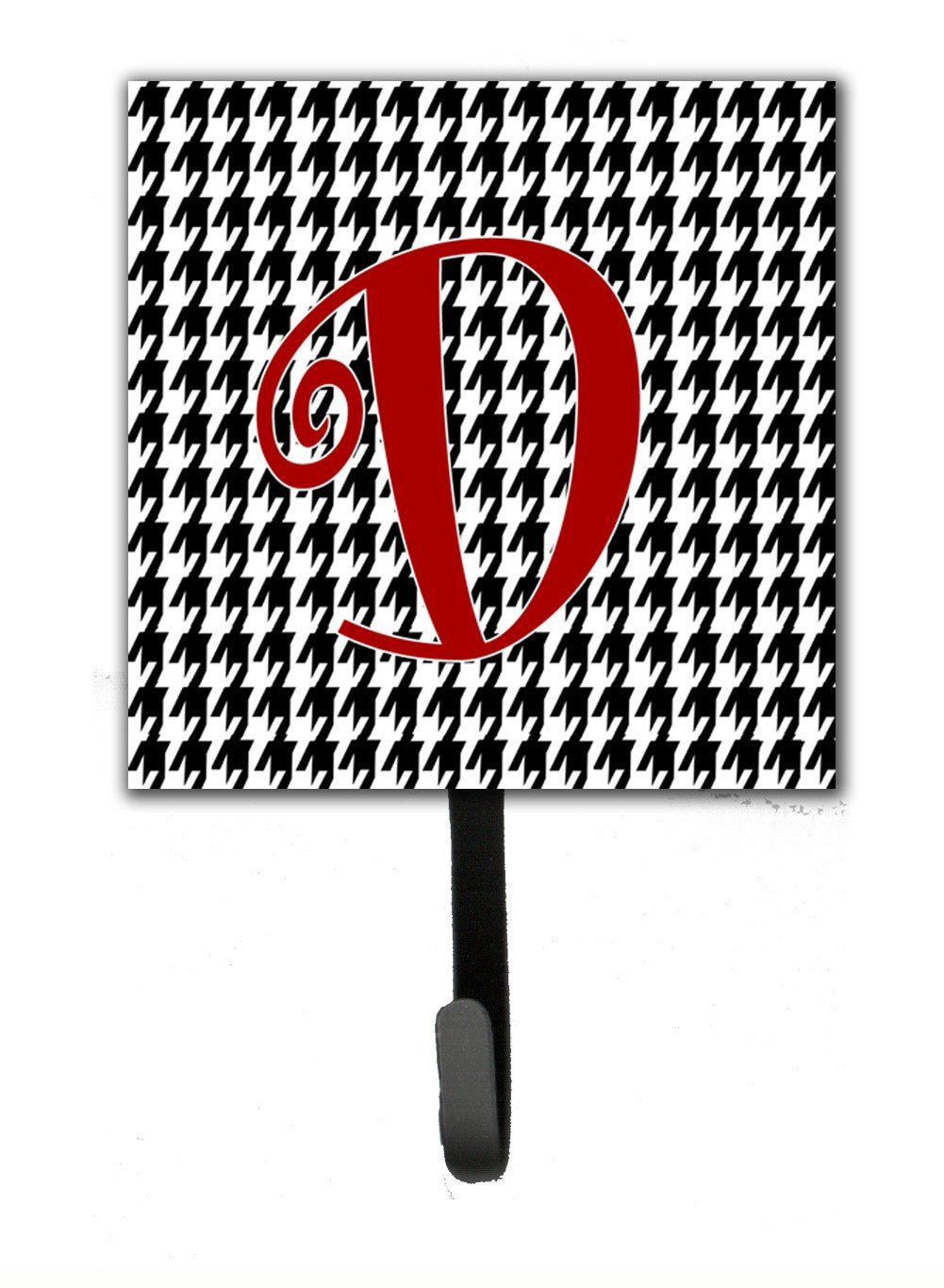 Letter D Initial Monogram - Houndstooth Black Leash Holder or Key Hook by Caroline's Treasures