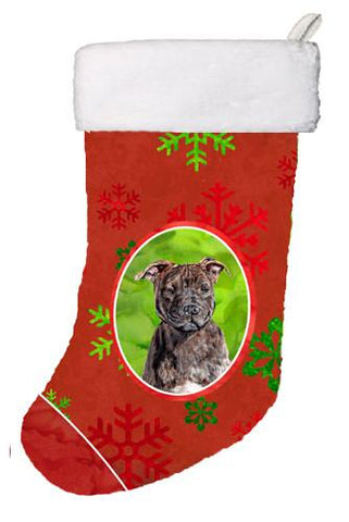 Buy this Staffordshire Bull Terrier Staffie Red Snowflakes Holiday Christmas Stocking SC9753-CS