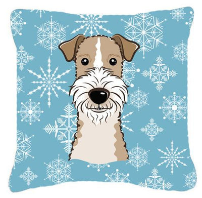 Buy this Snowflake Wire Haired Fox Terrier Fabric Decorative Pillow BB1681PW1414