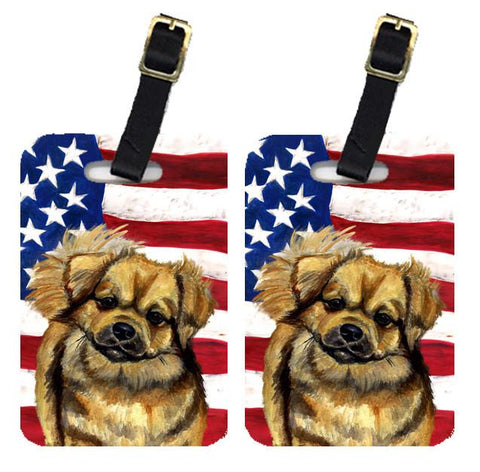 Buy this Pair of USA American Flag with Tibetan Spaniel Luggage Tags LH9033BT