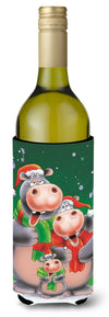 Hippo Family Caroling Wine Bottle Beverage Insulator Hugger AAH7195LITERK by Caroline's Treasures