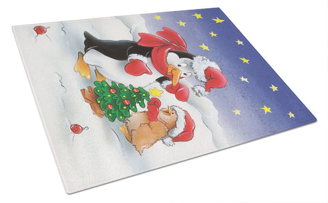 Buy this Penguin and Robin with Christmas Tree Glass Cutting Board Large AAH7203LCB
