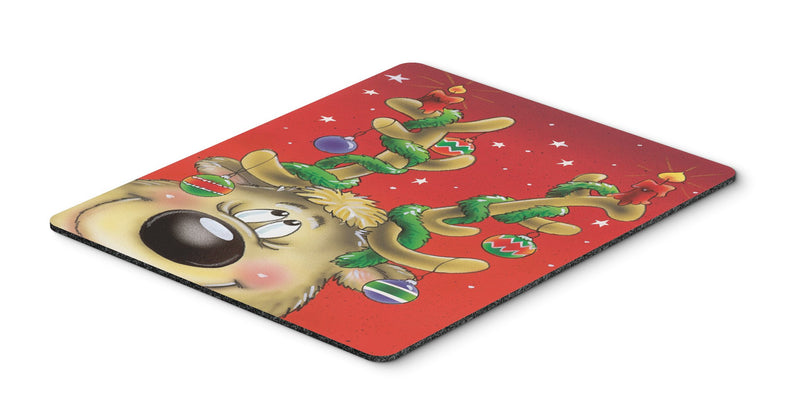 Comic Reindeer with Decorated Antlers Mouse Pad, Hot Pad or Trivet AAH7206MP - the-store.com