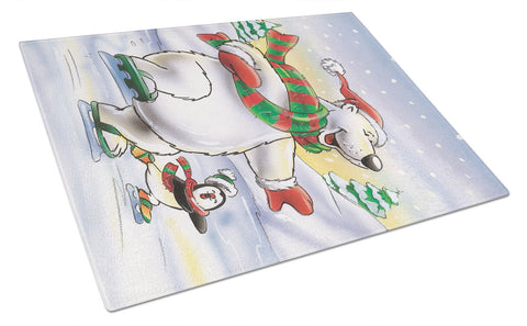 Buy this Holiday Polar Bears Ice Skating Glass Cutting Board Large AAH7270LCB