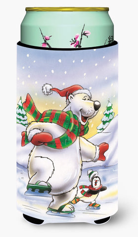 Buy this Holiday Polar Bears Ice Skating Tall Boy Beverage Insulator Hugger AAH7270TBC