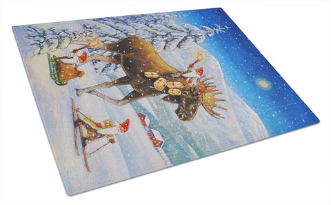 Buy this Christmas Gnome riding Reindeer Glass Cutting Board Large ACG0102LCB