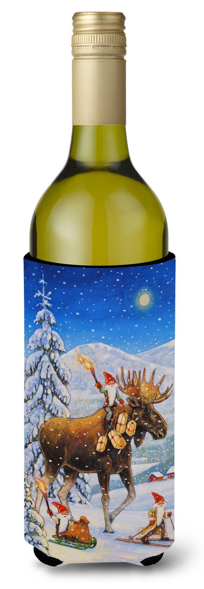 Christmas Gnome riding Reindeer Wine Bottle Beverage Insulator Hugger ACG0102LITERK by Caroline's Treasures