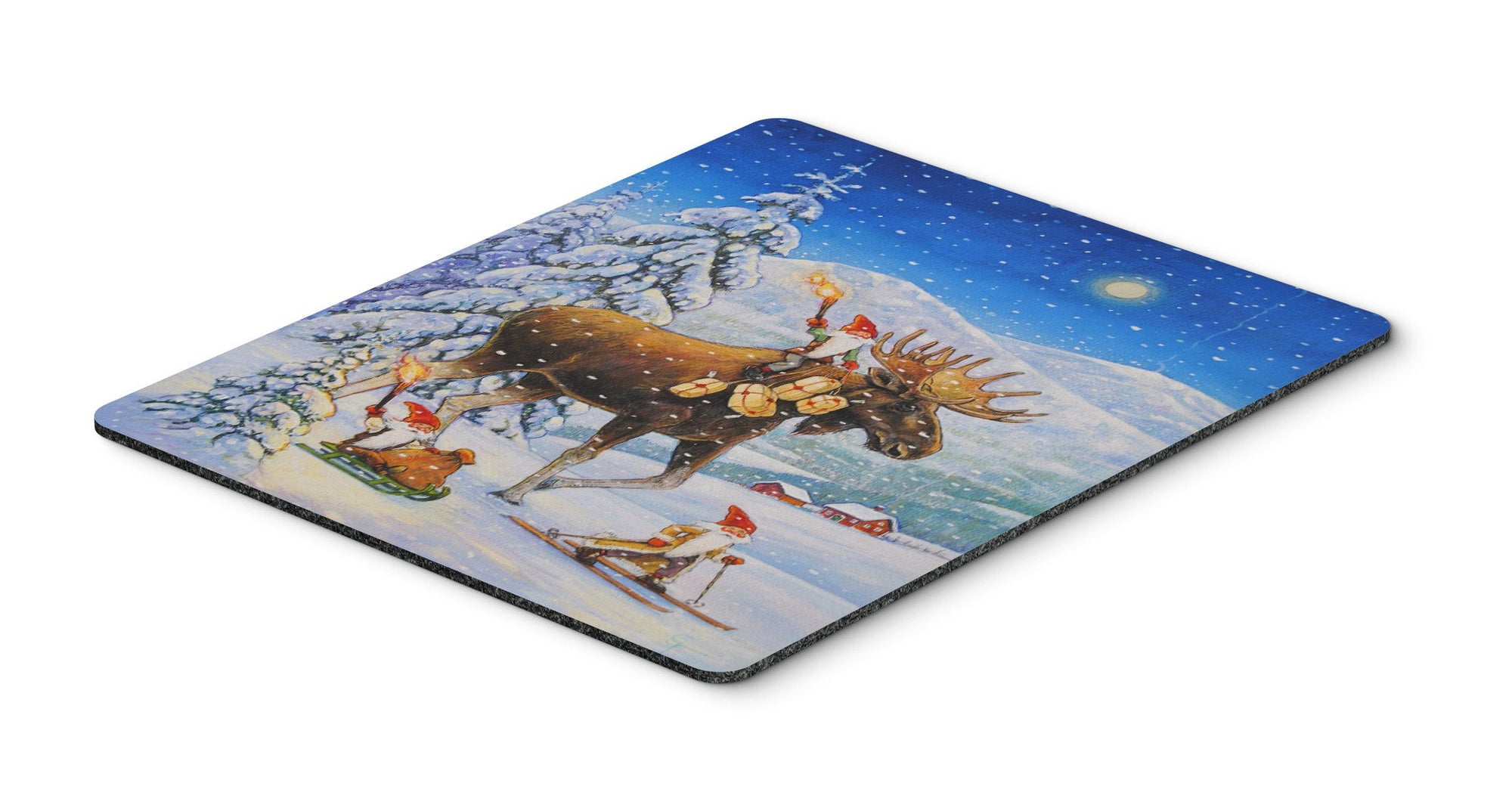 Christmas Gnome riding Reindeer Mouse Pad, Hot Pad or Trivet ACG0102MP - the-store.com