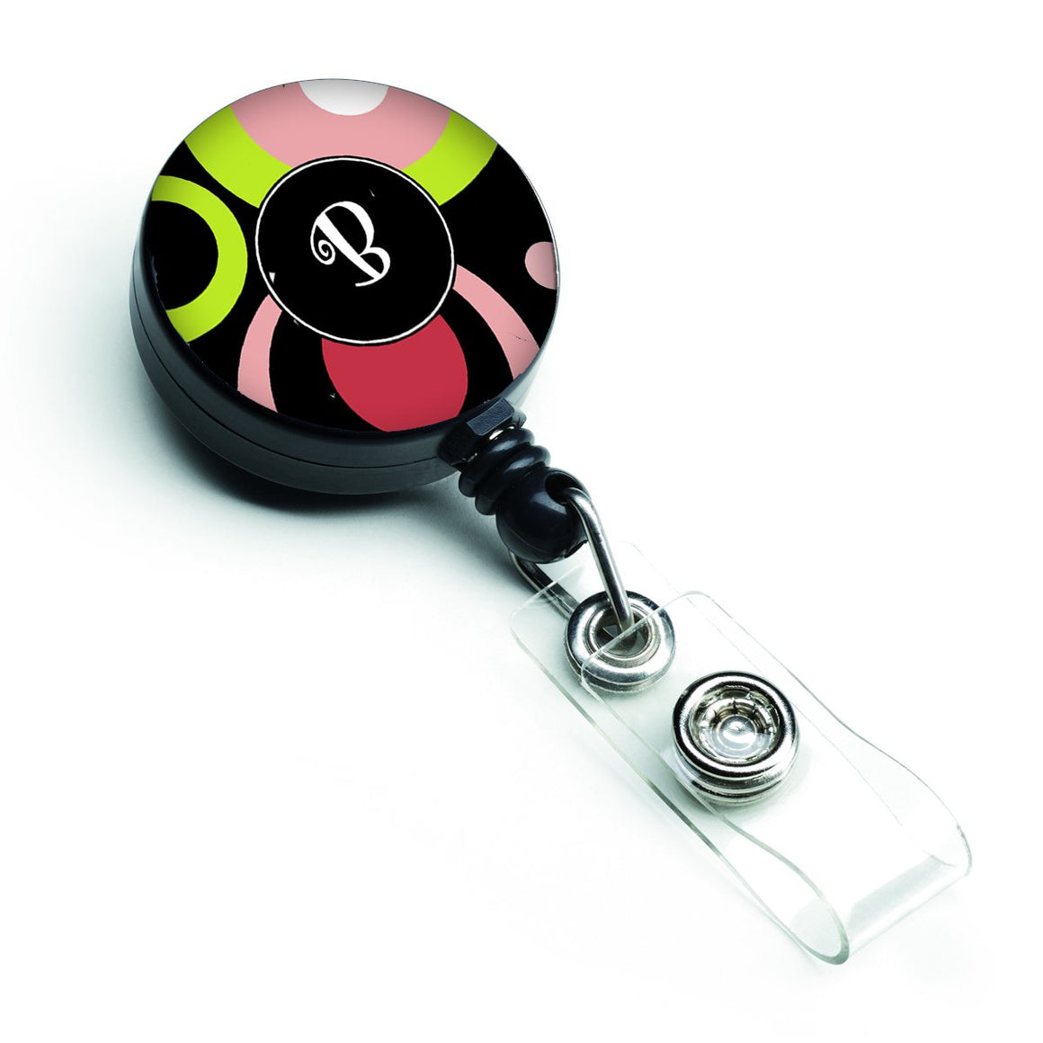 Buy this Letter B Monogram - Retro in Black Retractable Badge Reel AM1002-BBR