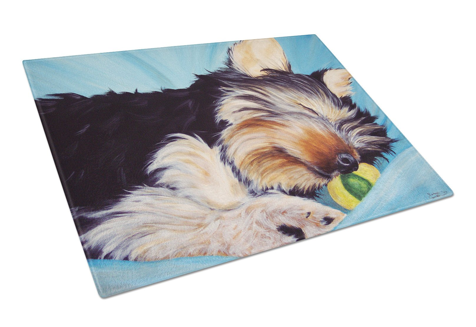 Naptime Yorkie Yorkshire Terrier Glass Cutting Board Large AMB1075LCB by Caroline's Treasures