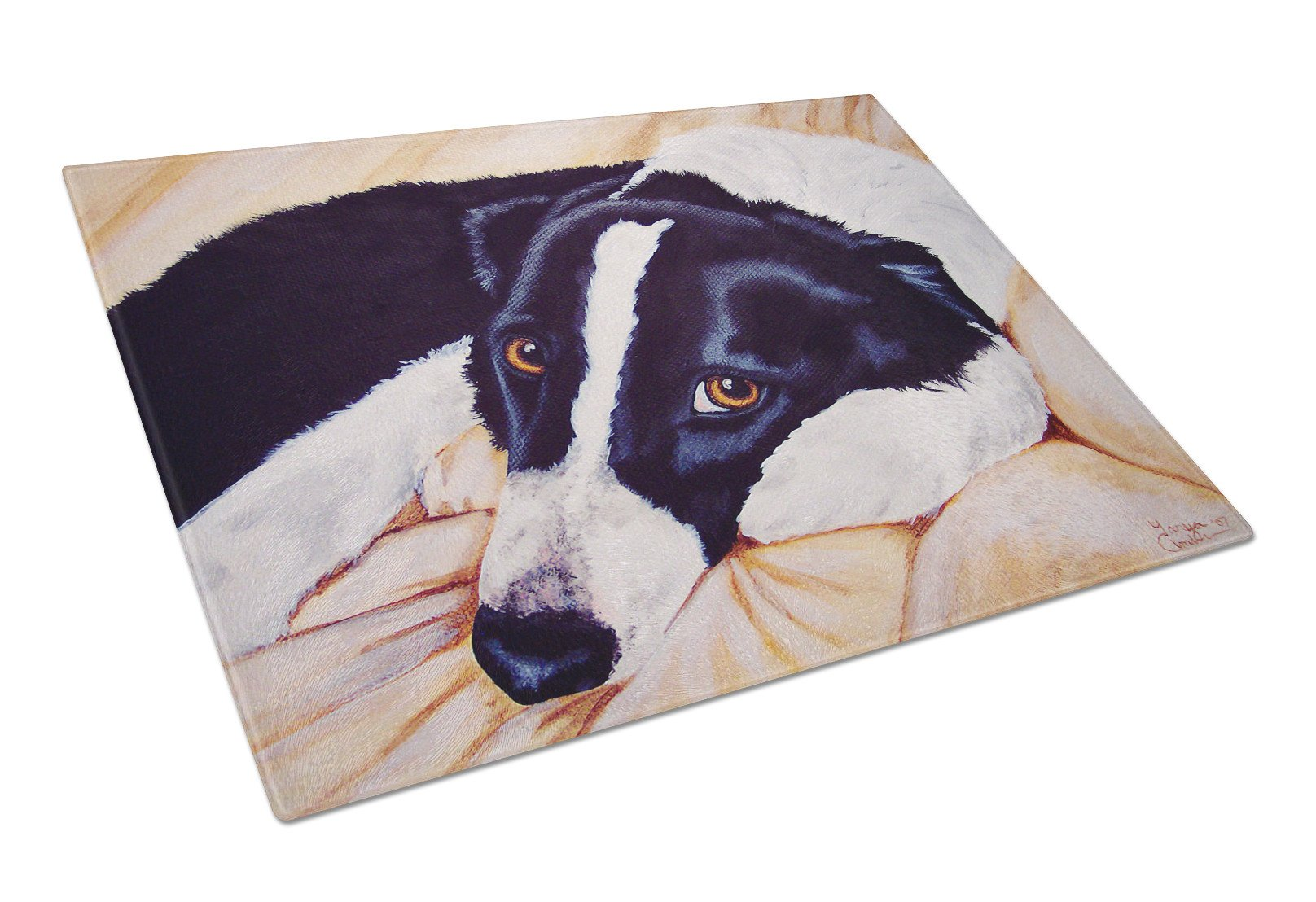 Naptime Border Collie Glass Cutting Board Large AMB1080LCB by Caroline's Treasures