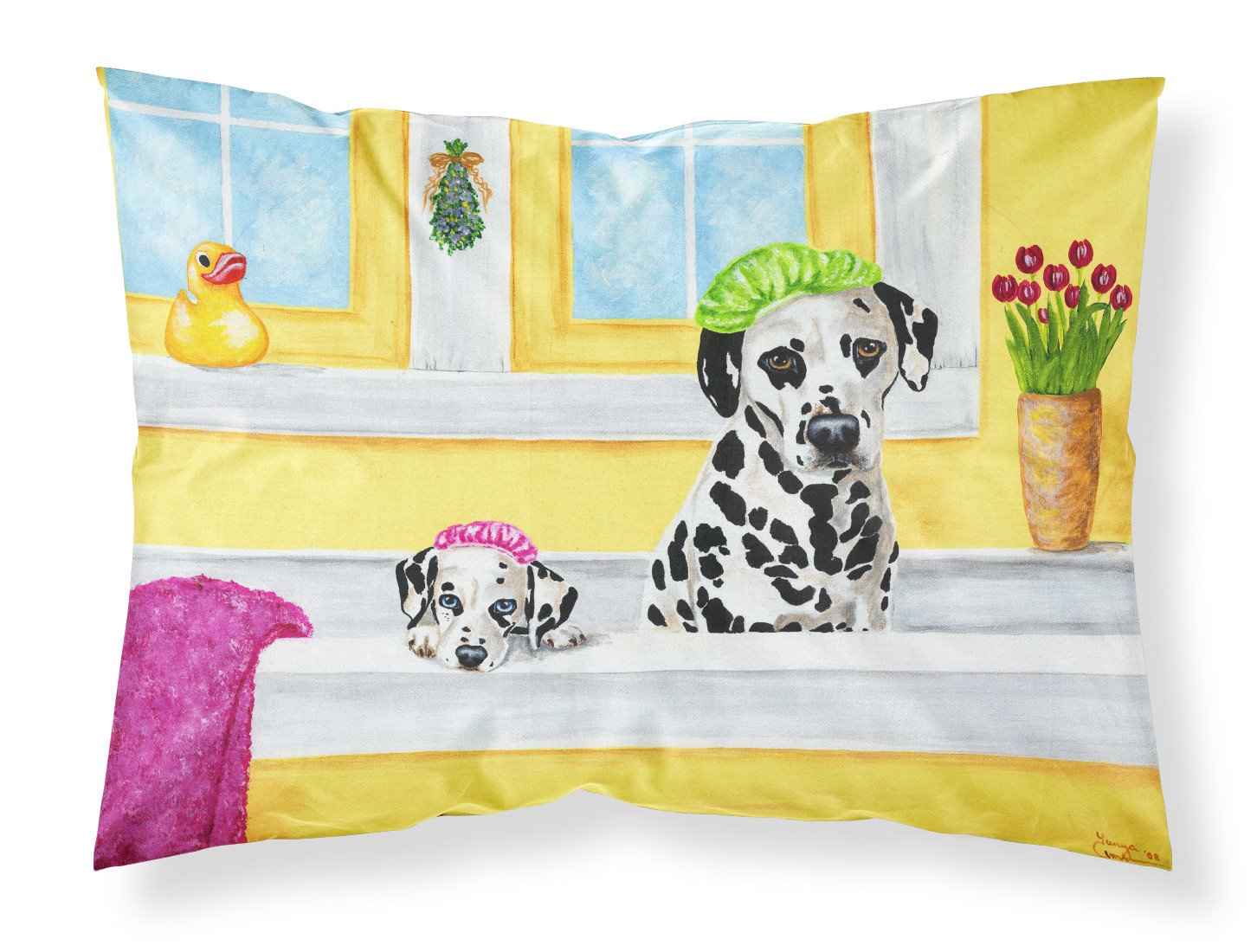 Buy this Bath Day Dalmatian Fabric Standard Pillowcase AMB1099PILLOWCASE