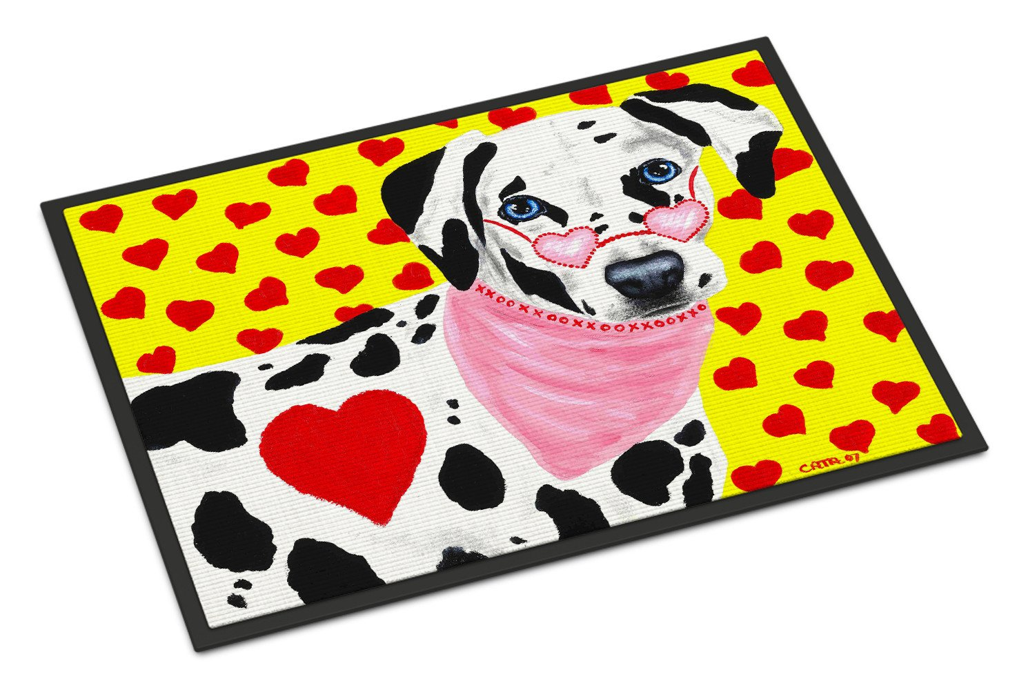 Hearts and Dalmatian Indoor or Outdoor Mat 18x27 AMB1116MAT - the-store.com