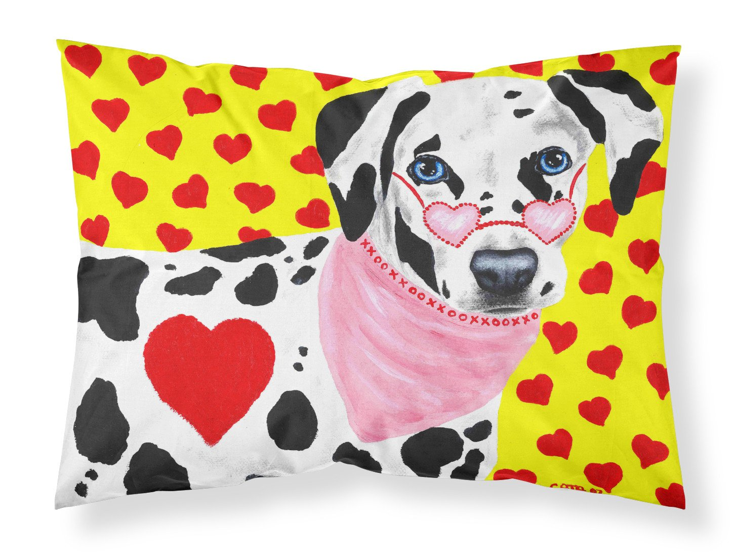 Buy this Hearts and Dalmatian Fabric Standard Pillowcase AMB1116PILLOWCASE