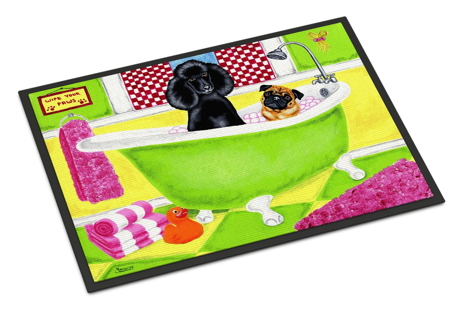Tub for Two with Poodle and Pug Indoor or Outdoor Mat 18x27 AMB1335MAT - the-store.com
