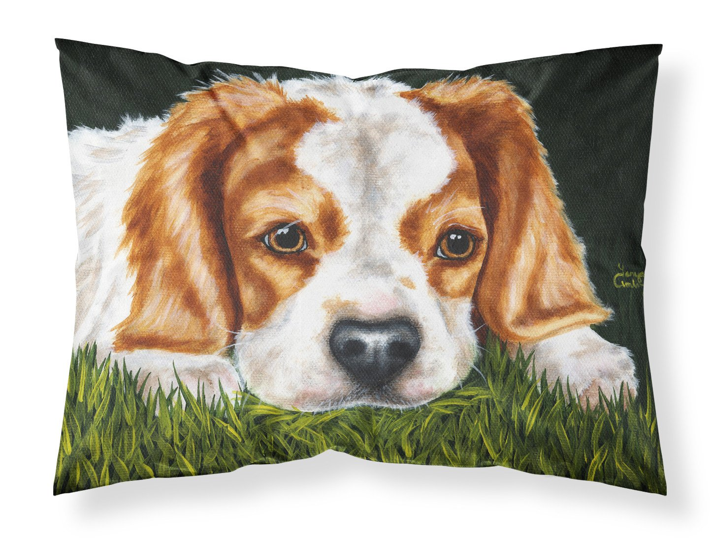 Buy this Cavalier Spaniel in the Grass Fabric Standard Pillowcase AMB1395PILLOWCASE