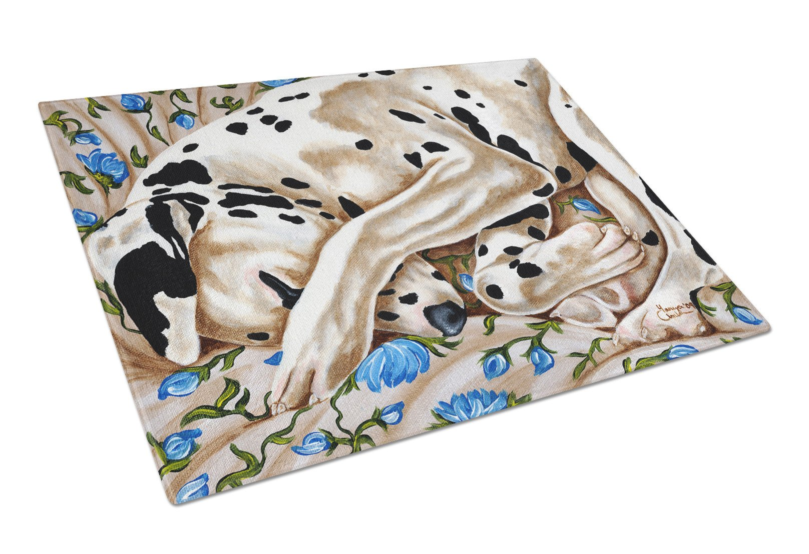 Bed of Roses Dalmatian Glass Cutting Board Large AMB1407LCB by Caroline's Treasures