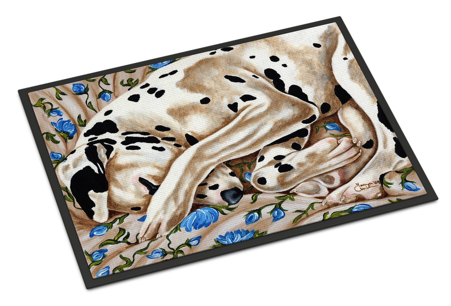 Bed of Roses Dalmatian Indoor or Outdoor Mat 18x27 AMB1407MAT - the-store.com