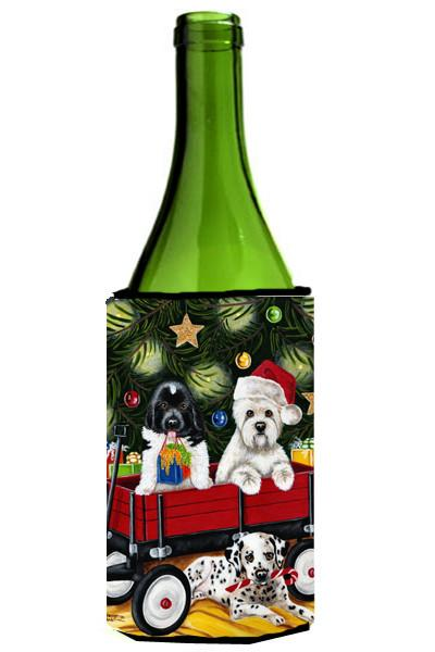Christmas Westie, Newfoundland, Dalmatian Wine Bottle Beverage Insulator Hugger AMB1445LITERK by Caroline's Treasures